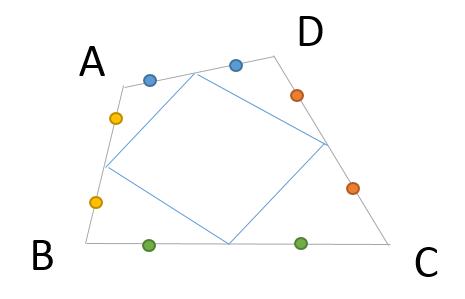 中の四角形は平行四辺形