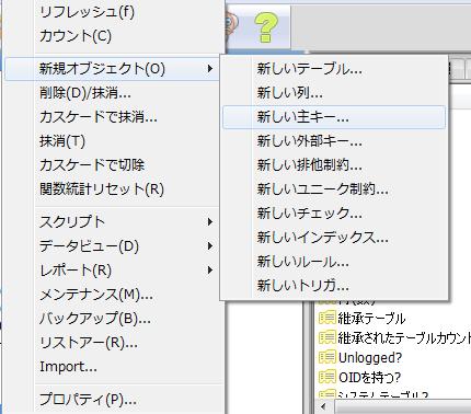 pgAdmin Ⅲ主キーを設定してデータを修正