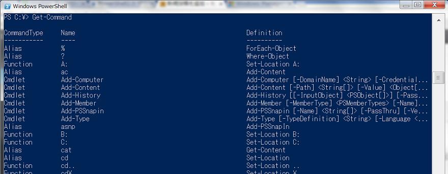 PowerShell2.0コマンドプロンプト