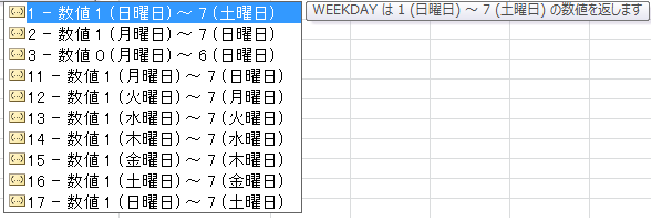 Weekday 関数の第2パラメータ