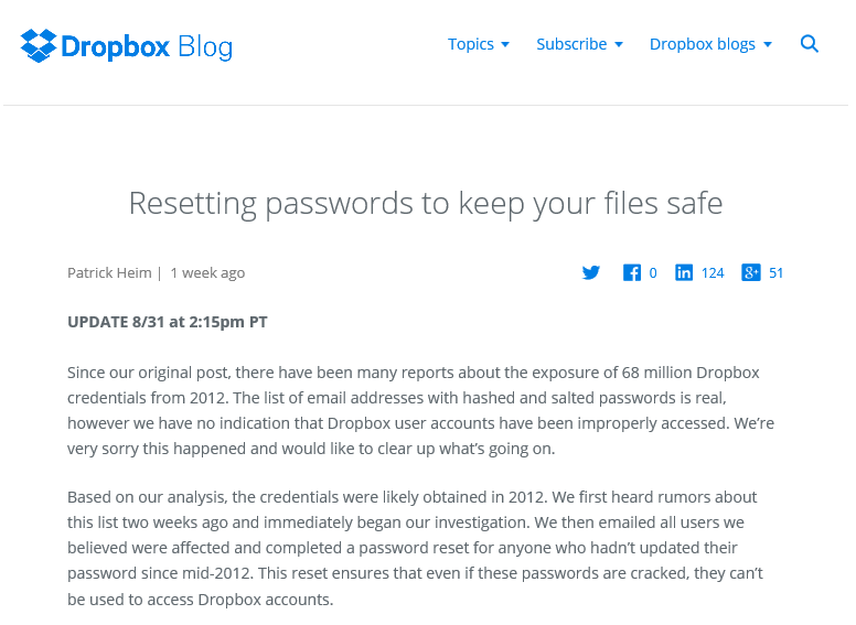 Dropboxアカウントが2012年に流出していたことが判明